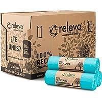 Relevo sacs poubelle 100% recyclés, très résistant 20L, 525 pièces bleu