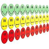 30 bunte Smileys Magnete (10 gruene lachende Smileys / 10 gelbe neutrale Smileys / 10 rote traurige Smileys) / Durchmesser 5cm / z.B. fuer Praesentationen, Schulungen, Projektarbeit, Unterricht.