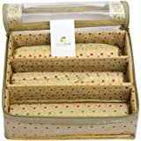 HomeStrap Designer 3 Rod Brocade Bangle Box with Transparent Top - Golden - Pack of 1
