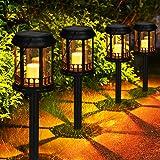 Lanternes Solaires Extérieur GolWof Lot de 4 Lampe Solaire Jardin Exterieure au Sol Bougie Scintillante Jaune Chaud Lampe Sol