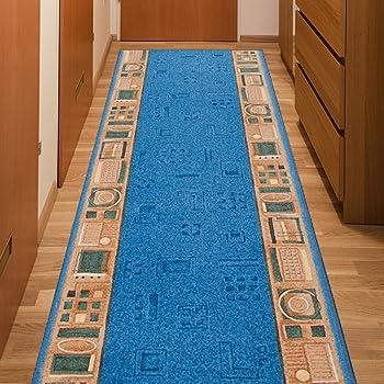 4 Farben rutschsicher Teppichl/äufer R/ügen blau 546 Teppich L/äufer Br/ücke Flur Meterware in 44 Gr/ö/ßen 80 cm breit