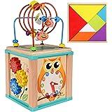 Ronzetti Cubo de Actividades de Madera, Centro Educativo 5 en 1 para Bebés y Niños de 1, 2, 3 años de Edad, Aprende Jugando.