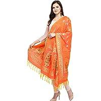 KAPAAHA Women's Woven Silk Banarasi Dupatta, Width 45 inch, Length 2.5 meter