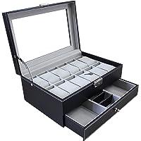 Todeco - Boîte à Montres et Bijoux, Présentoir à Montres et Bijoux - Dimensions: 30 x 20 x 14 cm - Matériau de la boîte…
