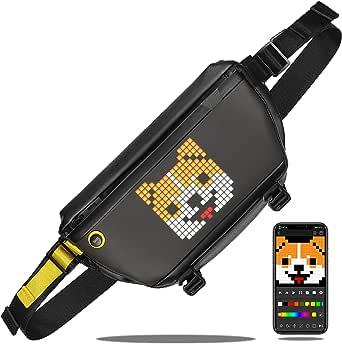 Divoom Pixoo Pixel Art Sling Bag Brusttasche Rucksack Schultertasche,Crossbody Umhängetaschen mit App-gesteuertem 16x16-LED-Bildschirm Gürteltasche Wasserdicht für Herren Damen Sporttasche Daypack