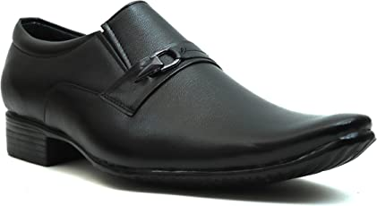 Emosis Men's Stylish Tan Brown Black Colour Formal Moccasin Slip-On Shoe