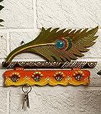 JaipurCrafts Beautiful Mor Pankhi Wooden Key Holder (9IN x 14 in)