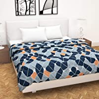 Divine Casa Microfibre 120 GSM Comforter/Blanket/Quilt/Duvet Lightweight, All Weather Double Comforter, Geometric- Navy…