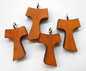 UNL: 'Tau Cross' Locket Set of 4 pc. The Sign of The Tau, Last Letter of The Hebrew Alphabet, Catholic Religious Jewelry. Item# GLKTIT-4P-001
