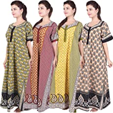 Silver Organisation Women's Cotton Maxi Gown (ComboNT_7551, Multicolour, Free Size) - Pack of 4 pieces