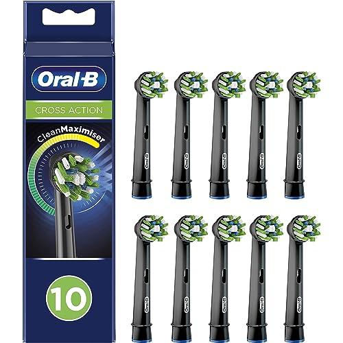 Oral-B Cross Action Testine di Ricambio per Spazzolino Elettrico con Tecnologia CleanMaximiser, Confezione da 10 Adatta alla Buca delle Lettere, Edizione Nera
