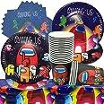 Juego de Vajilla para Fiestas, Decoraciones Among us Vajilla para Fiestas, El Juego de 61 Piezas Incluye 1 Mantel,20 Vasos de