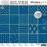 Artemio Set papiers 40 pages ARGENT Bleu Foil – 30x30 cm,