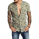 Loalirando Camicia da Uomo Manica Corta Camicia Uomo Slim Fit Magliette Uomo Elegante Casual (M-3XL)
