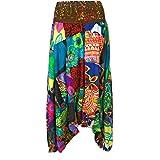 PatchworkHarem - Pantaloni da donna in cotone, stile vintage, 3 in 1, stile etnico, stile bohémien, con stampa, ampia gamba