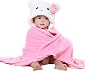 My NewBorn Baby Polar Fleece Hooded Blanket (Pink and White, 0-6 Months)