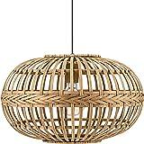 Eglo Suspensions Amsfield, Lampe Suspendue à Flamme Vintage, Nature, Boho, Bien-Être, Lampe Pendante en Acier, Bois en Couleu