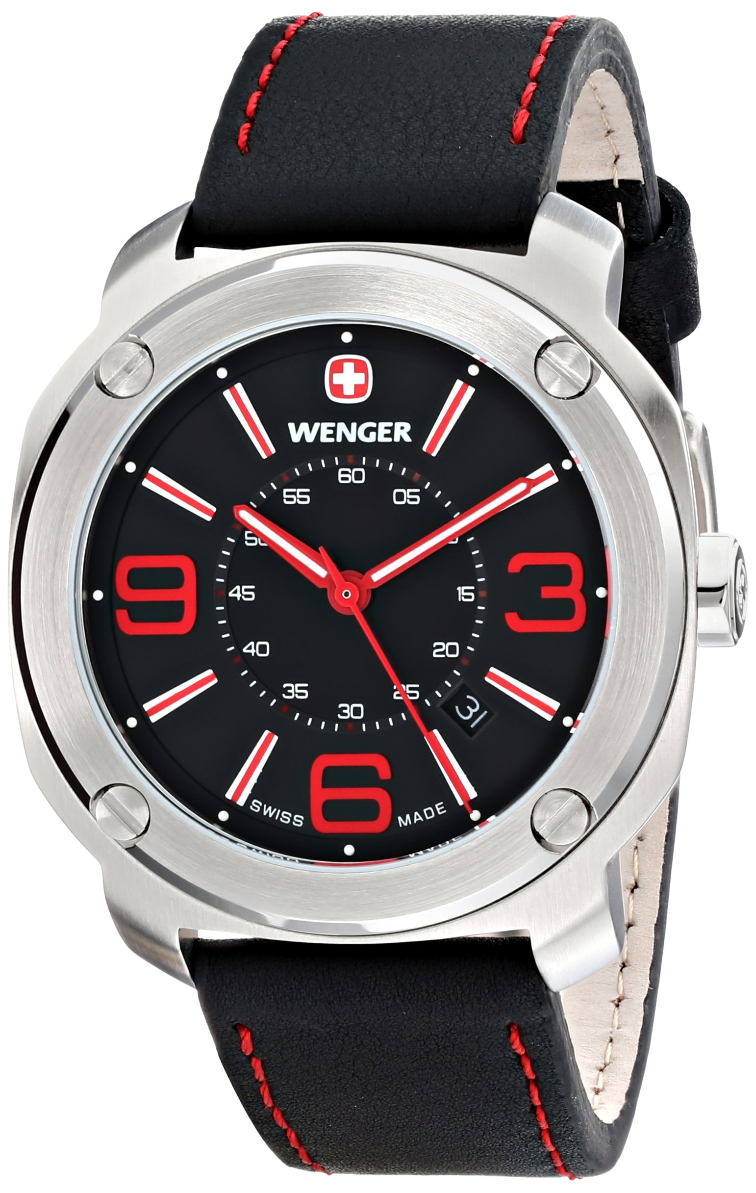 Wenger Escort Men's Quartz Watch with Black Dial Analogue Display and Black Leather Strap 011051103