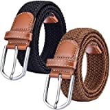 2 Pack Ladies Stretch Belts, Elasticated Braided Canvas Belts for Women or Men, Suitable for Jeans Trousers Dresses