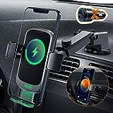Auckly Qi 15 W trådlös billaddare, [dold automatisk], snabb billaddare kompatibel med Galaxy S20/S10/S9, bil mobiltelefonhåll