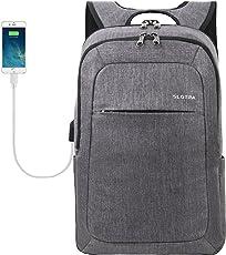 Laptoprucksack USB-Ladeanschluss Business15.6 Zoll Slim Backpack Schule Outdoor Resien(leichtgrau)