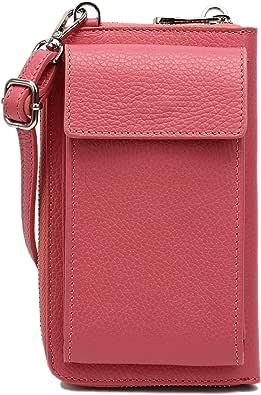 SH Leder Damen Handytasche Umhängetasche Geldbörse Multifunktion Beutel aus Echtleder Verstellbar Schultergurt Handy bis 6,5 Zoll 11,50x19cm Sarah G339
