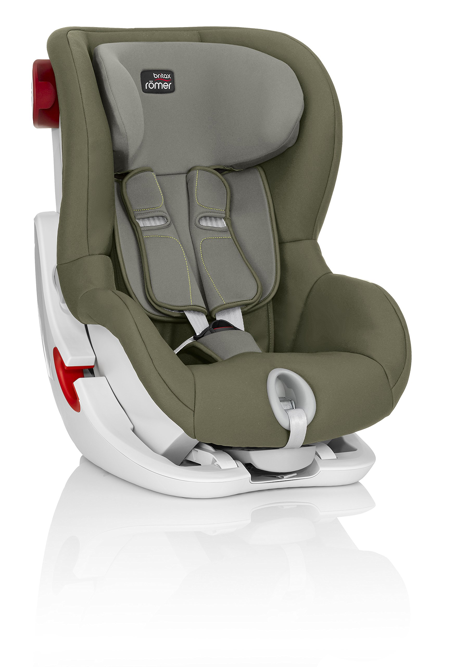 Britax Römer King II Car Seat, Olive Green Britax Römer Easy installation - with tilting seat and patented seat belt tensioning system Optimum protection - performance chest pads, deep, padded side wings 4