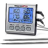 ThermoPro TP17 Termometro Cucina Digitale a Doppia Sonda con Modalità Timer e Display LCD per Cottura BBQ Alimenti Carne Forn