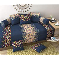 KS21 Homes 3D diwan Set Printed 8 Piece of Combo 5 Cushions and 2 Bolster with Single bedsheet by KS21 Homes