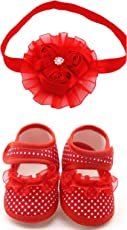 Ziory Baby Girl's Bare Foot Sandals Shoes Flower Belly 6-8 Months and Soft Wrap Elastic Flower-Headband - 3 Pieces Per Set