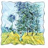 prettystern Foulard di seta con stampa Impressionismo Vincent Claude Monet 90cm Quadrato Fantasie diverse