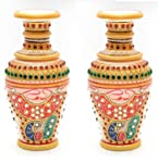 Craftam Marble Handicraft Decorative Flower Vase, Pot Golden Emboss Meenakari Work Jewelry Design Showpiece