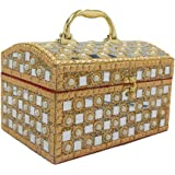 RK Brands Vanity/Make up Box With Pearl And Mirror Work For Women, Bride (Golden) (Design 1)