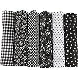 UOOOM Lot de 6pcs 50 x 50 cm Patchwork coton tissu DIY Fait à la main en tissu à coudre Quilting Designs Différents (Tone-Black)