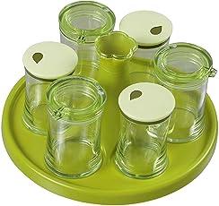Vivir® Elegant 6 in 1 Round Cruet Set (Oil And Vinegar Dispenser Set, Salt And Pepper Dispenser)