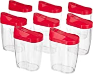 Amazon Brand - Solimo Grocery Jar with Spout, 475 ml, Set of 8, Magenta