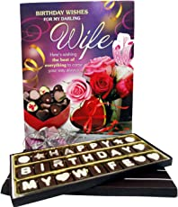 Birthday Chocolate Gift for Wife with Greeting Card