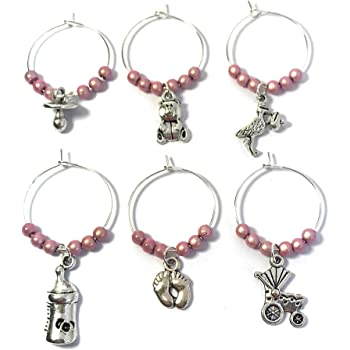Libbys Market Place Its a Surprise Baby Shower Glass Charms with Gift Box Handmade