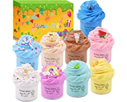 9 Pack Butter Slime Kits for Girls and Boys,with Rainbow,Stitch,Lemon,Pear,Ice Cream,Mint Leaf,Watermelon,Lollipop Candy Char