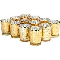 Ensemble de 12 supports de bougies chauffe-plat mouchetés | Bougeoirs en verre élégants | Décoration de table et maison…
