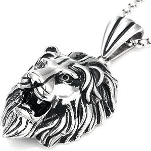 DonDon - Collana da uomo in pelle o in acciaio inox e ciondolo con leone in acciaio inossidabile, in sacchetto per gioielli, acciaio inossidabile, colore: argento, cod. AM04-EM52_us2
