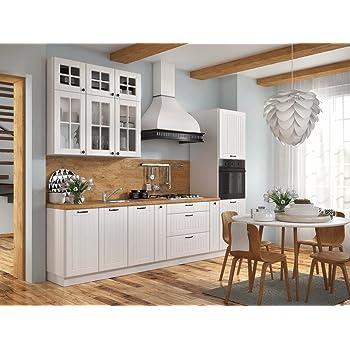 NEU komplette Küche LORA Weiss 290 cm durchgehende ...