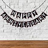 Wobbox Happy Anniversary Bunting Banner, Red Glitter & Black , Anniversary Party Decoration