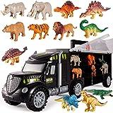 HERSITY Camion Dinosaures Jouets de Transporteur avec 6 Petits Dinosaures et 6 Mini Animaux Dinosaure Figurine Cadeaux pour E