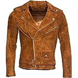 Infinity Leather Giacca da Motociclista da Uomo in Pelle Scamosciata Marrone Abbronzatura Chiaro Brando