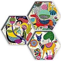 SAF Set of 3 Hexagon Kid's Room Decor Modern Art 6MM MDF UV Textured Home Decorative Gift Item 21 inch x 21 inch…