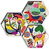 SAF Set of 3 Hexagon Kid's Room Decor Modern Art 6MM MDF UV Textured Home Decorative Gift Item 21 inch x 21 inch Abstract Pai