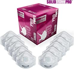 Atemschutzmaske FFP3 (10 Stk.) in Profi-Qualität zum unschlagbaren Preisleistungs-Verhältnis | Zuverlässiger Schutz, leichtes Atmen und optimaler Sitz | Einweg Staub-Maske (Feinstaub Halbmaske über Mund und Nase) von SOLIDMAXX PRO