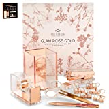 Rose Gold Desk Accessories for Women. 10-Piece Stationery Essentials Set. Girl Boss Office Decor. Aesthetic Desk Organizer Ki