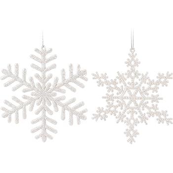 Amazon De 14er Set Schneeflocken Weiss 15x15cm Christbaumschmuck